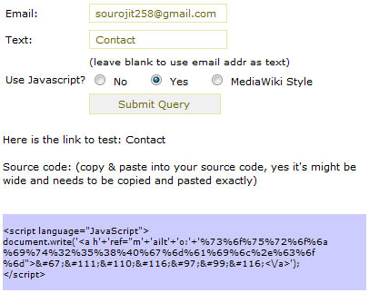 encrypt email id with mediawiki style
