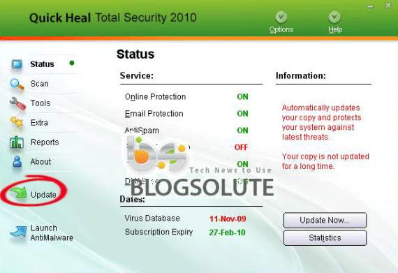 quick heal total security 2010 update dat file free