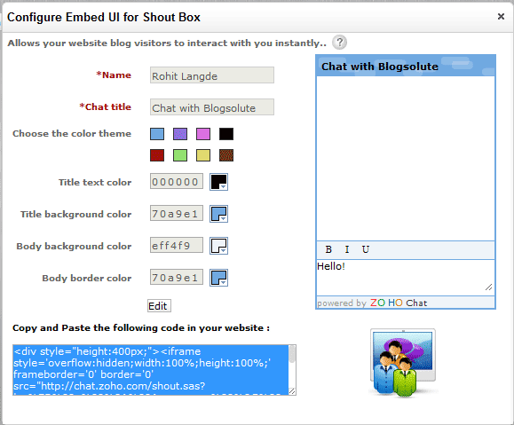 Chat Box Generator For Blog