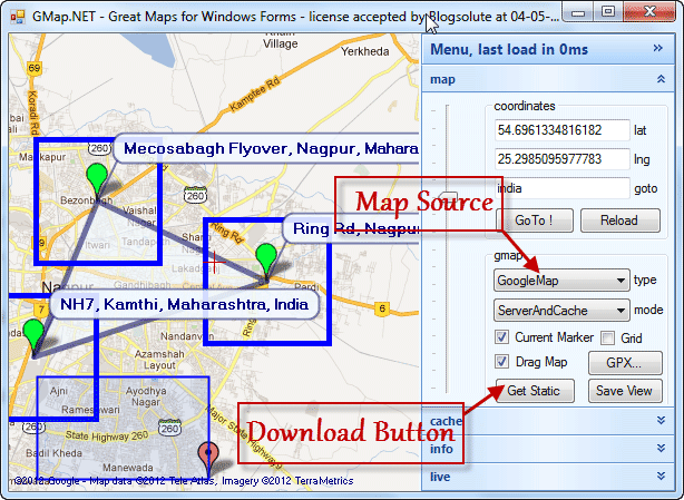 Google Map Download Tool - GMap.Net Main Interface