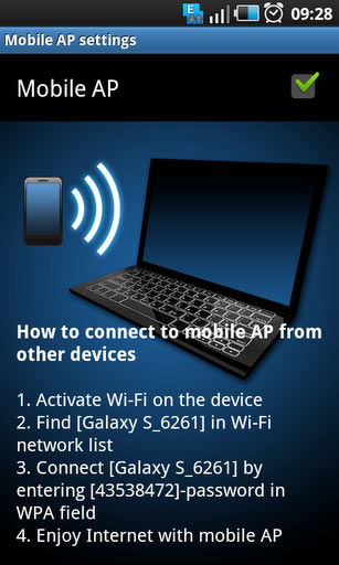 Share 3G / EDGE / GPRS via Wi-Fi with other devices on Samsung Galaxy S