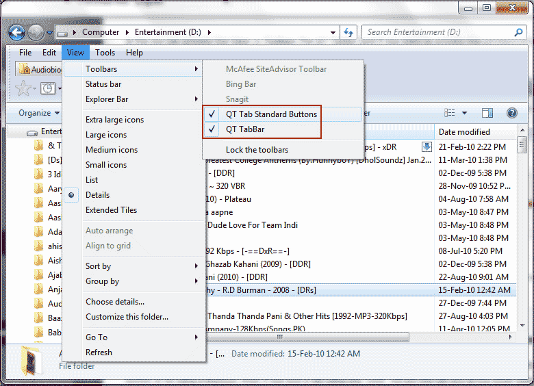 Bring Tabbed browsing and Hover Preview in Windows 7 File Explorer