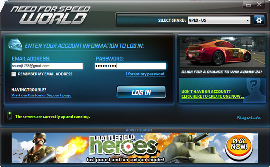 need for speed world client login