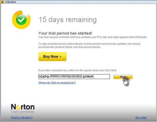 Norton internet security 2011 key.