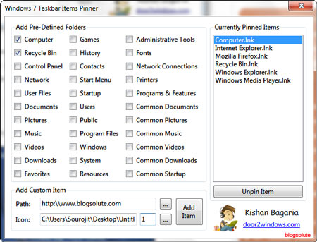 How to Pin any File, Folder and Webpages with Custom Icons to Taskbar