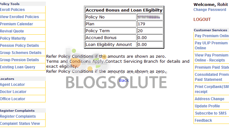 Check LIC Polict Status Details Pay Premium online