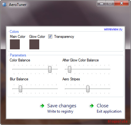 change aero settings windows 7