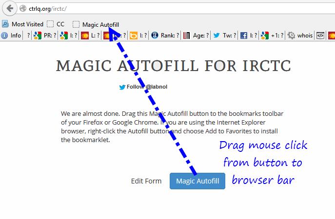 IRCTC Autofill