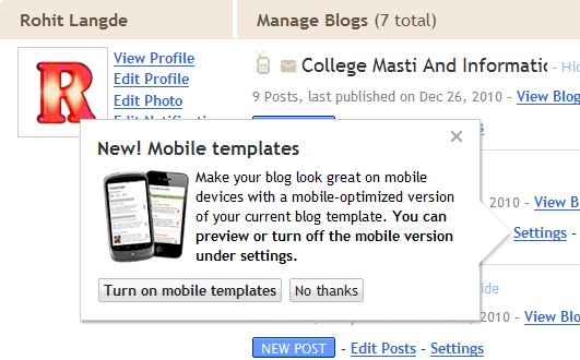 Mobile Template Blogger Blogspot