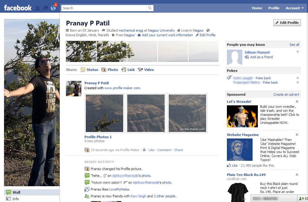 ... Trick to make collage of Photo on all over New Facebook Profile