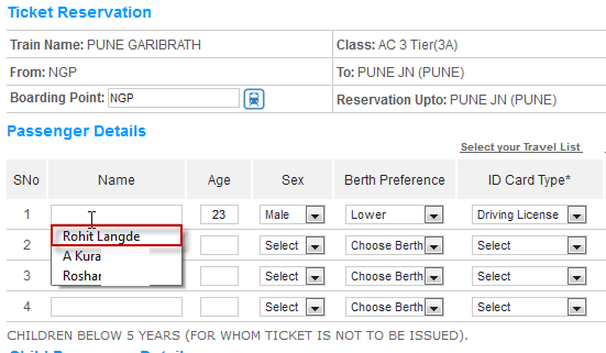 Tatkal Ticket Traveler Form