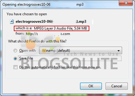 Show File Size download Firefox