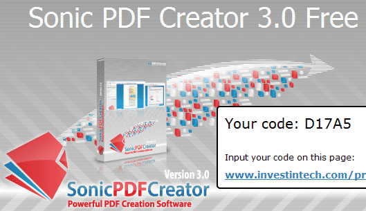 Sonic PDF creator 3.0 code giveaway on Facebook