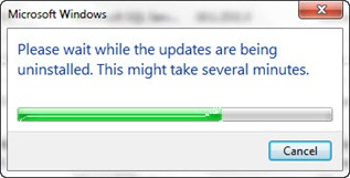 IE9 uninstall finished