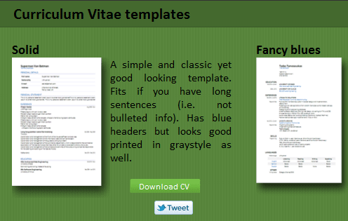 vitae template. select CV template and