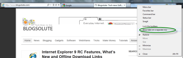 How to display Tabs in a Multiple row with Internet Explorer 9