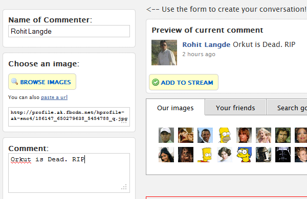 Generate Fake Facebook Status / Conversation Comments with Real Photo