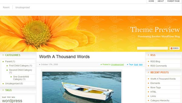orange html5 wordpress theme