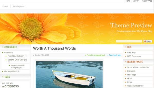 orange html5 wordpress theme