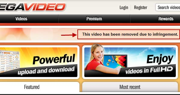 megavideo infringement