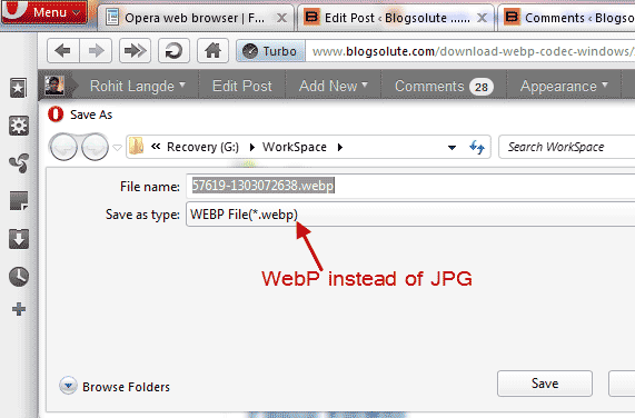 WebP instead of JPG Opera
