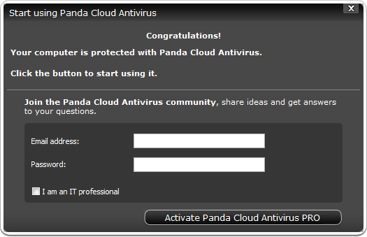 "from where you can choose "" Activate Panda Cloud Antivirus PRO"