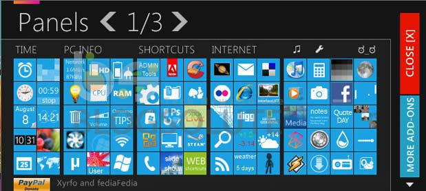Windows 8 Homescreen Panel