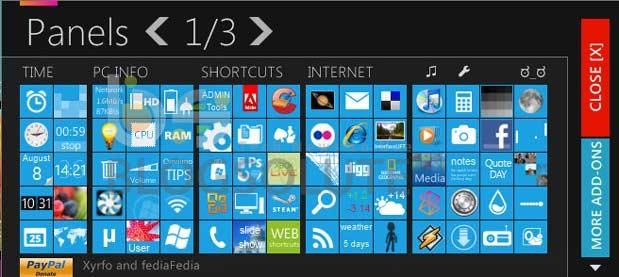 Windows 8 Homescreen Panel