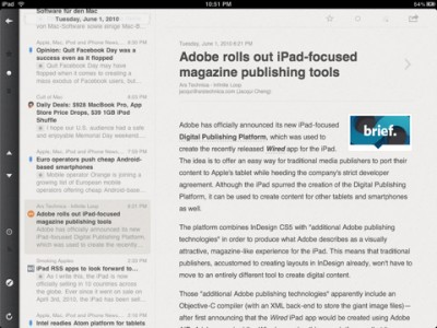 Reeder for ipad news reader