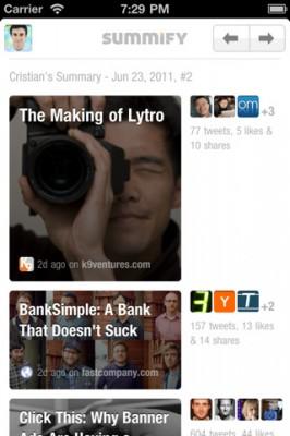 Summify iphone news reader