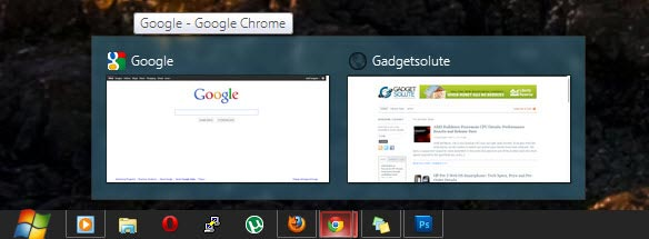 Chrome Tab Preview on Taskbar