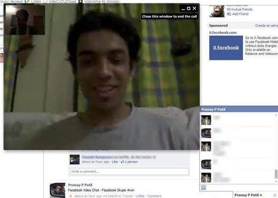 facebook video chat window