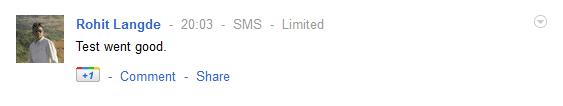 Google Plus SMS Status