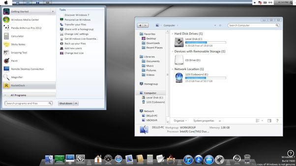Mac OS Lion Transformation Pack for Windows 7