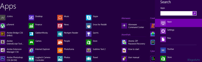 display all apps in windows 8