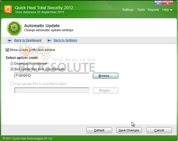 Quick Heal 2012 Offline Update Location Path