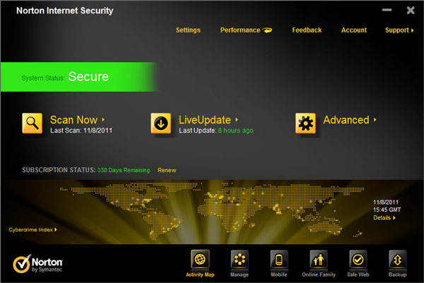 Main screen - norton internet security 2012 review