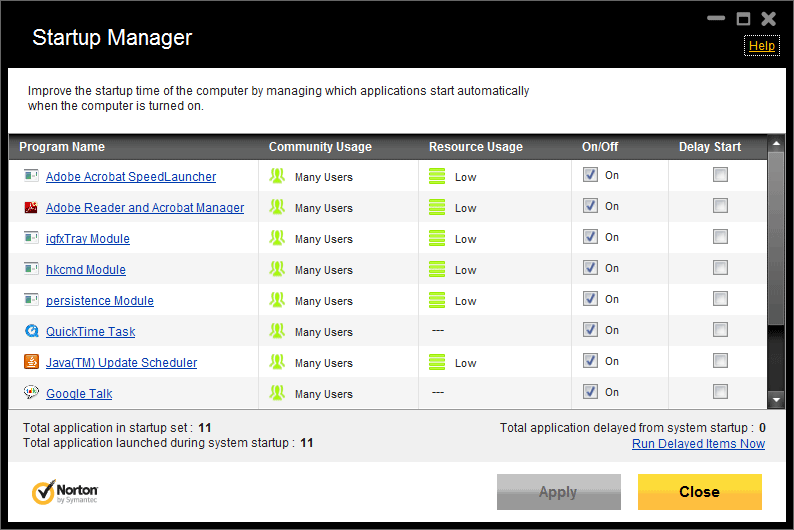 Startup Manager - norton internet security 2012 review
