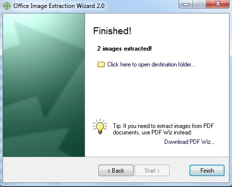 office image extraction wizard extraction finished