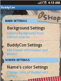 buddy con main settings