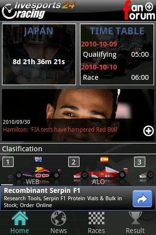 Livesports24 F1 app
