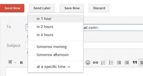 right inbox date and time options