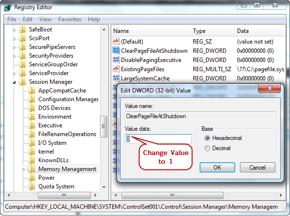 Clear PageFileSys Registry Settings