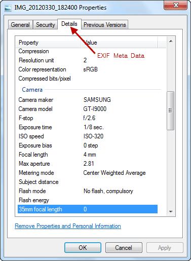 Image EXIF Meta Data