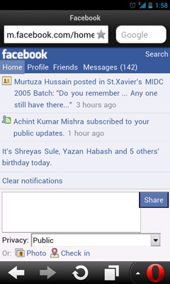 Facebook on Opera Mini Mobile