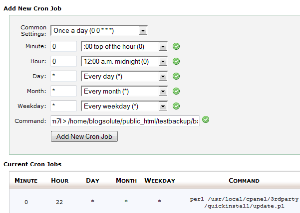 Cron Job in cPanel