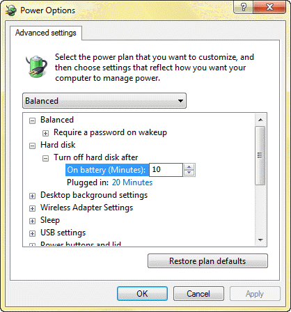 Advance Power Plan Options on Windows 7