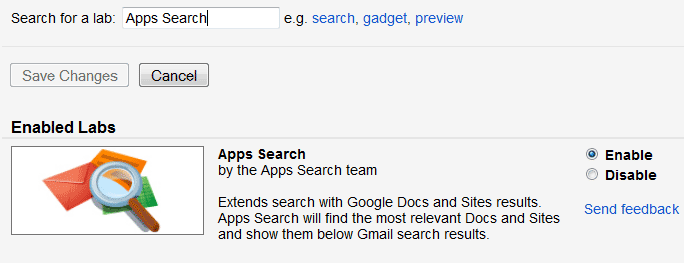 Gmail Labs Search Bar