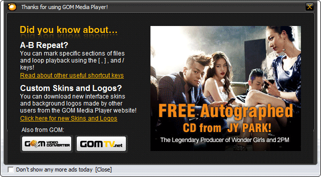GOM Player Pop-Up Ads Window