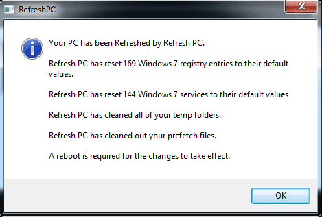 RefreshPC Result Output